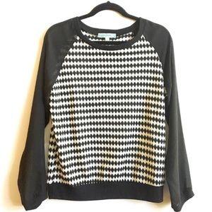Anthropologie Pleione Sweater Raglan Geometric M